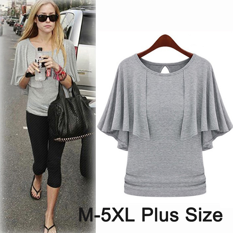 2018 Summer Cotton Cloak Cape t shirt for Women Gray Black Batwing Sleeve Casual Female t-shirt 5XL Plus Size Women clothing