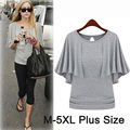 Fêmea do verão do algodão t camisa manto batwing manga Cinza Preto casual t-shirt M L XL XXL XXXL 4XL 5XL Plus Size Mulheres clothing