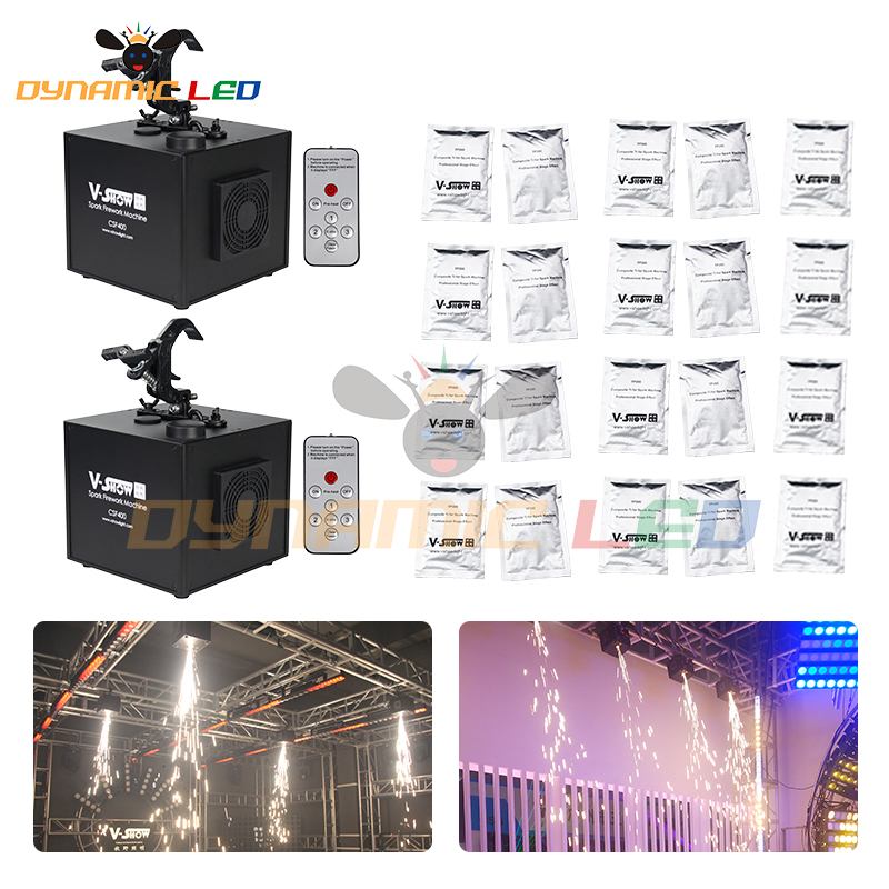 2pcs Machine And 20 Bags Powder 400w Fall Cold Spark Firework Machine For Wedding Celebration Dmx And Remote Control