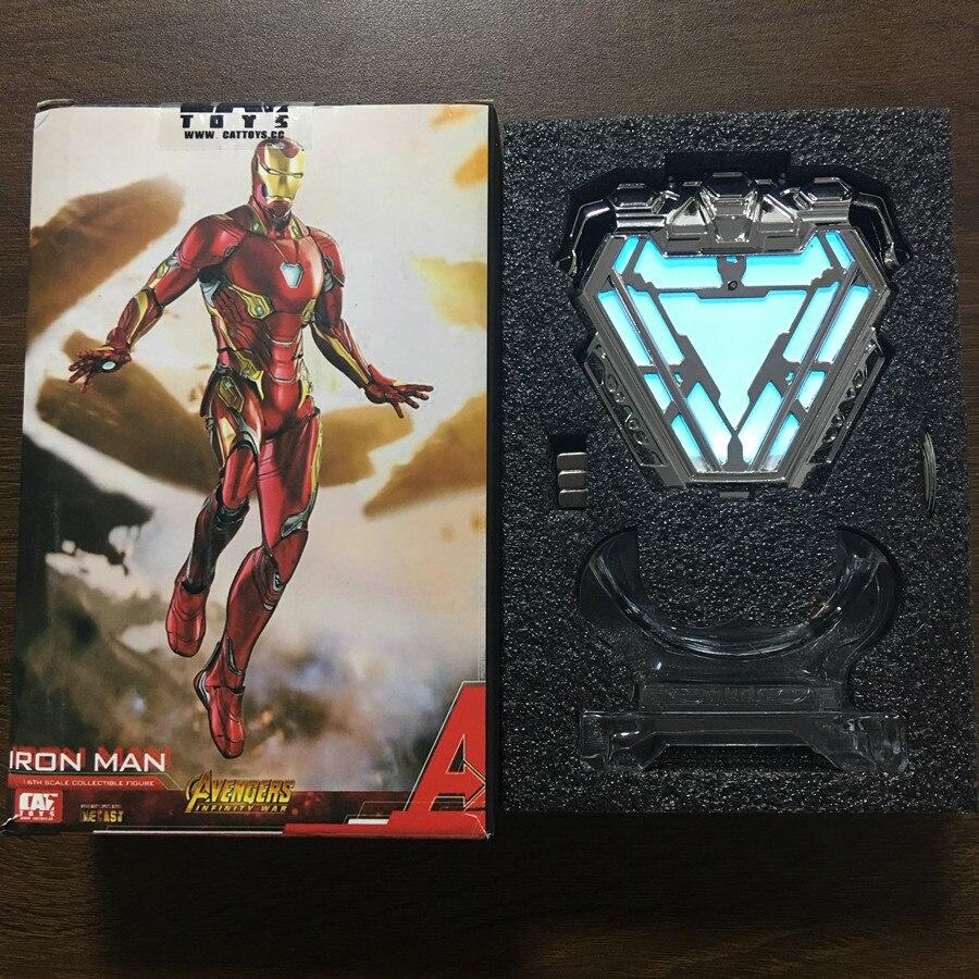 Nouveau chaud!! 1:1 échelle fer homme marque 50 MK50 Nano costume armure Arc réacteur lumière LED Figure modèle jouets poupées
