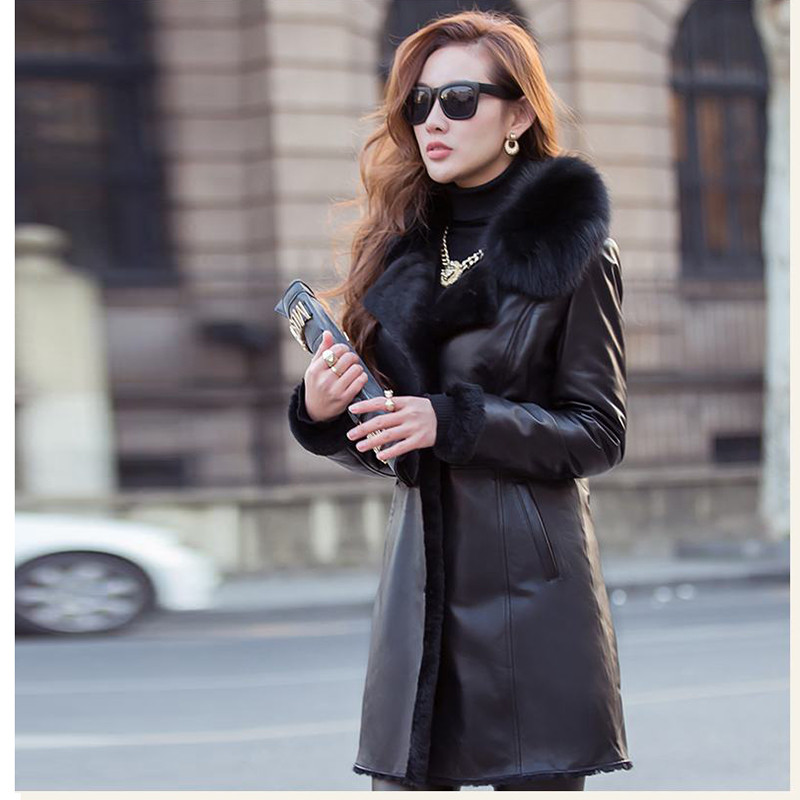 Doublure Réel Mouton Fourrure New En De 2019 Épais Chaud Laine Fox Dames Cuir Véritable Femmes W28 Survêtement Manteaux Col Veste Peau Hiver wpqx0HA