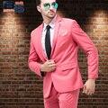 2015 mens a la moda para hombre traje rosa para hombre ocasional delgada formal del vestido de boda casada traje ropa chaqueta