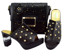 Italy Shoe And Bag!! African shoe and bag set high heel italian shoe with matching bag best selling ladies matching shoes YM007