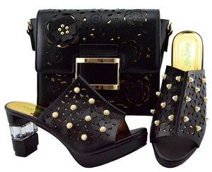 Image 1 - Zapato italiano y bolsa Conjunto de zapatos y bolsos africanos de tacón alto, zapato con bolsa italiana, superventas, a juego, YM007