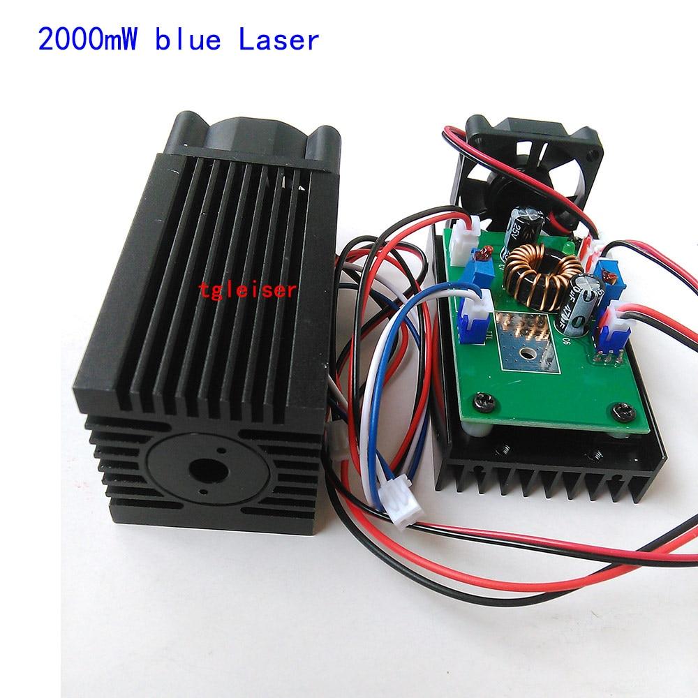 High Power 2W 450nm Blue Laser Engraving Cutting TTL Module 2000mW 2w blue laser head 450nm diy laser machine parts laser diode laser tube 2000mw ttl