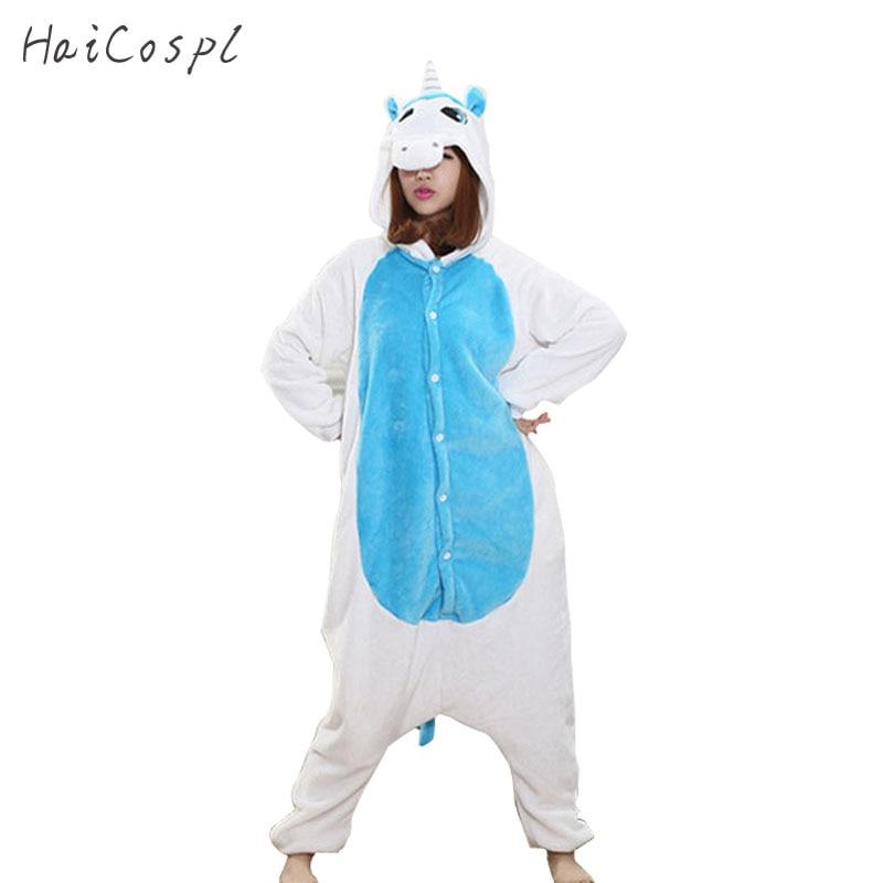Animals Kigurumi Unicorn Costume Adult Girl kids Unicorn Onesie Flannel Panda Totoro Women Anime Jumpsuit Disguise Onepiece Suit