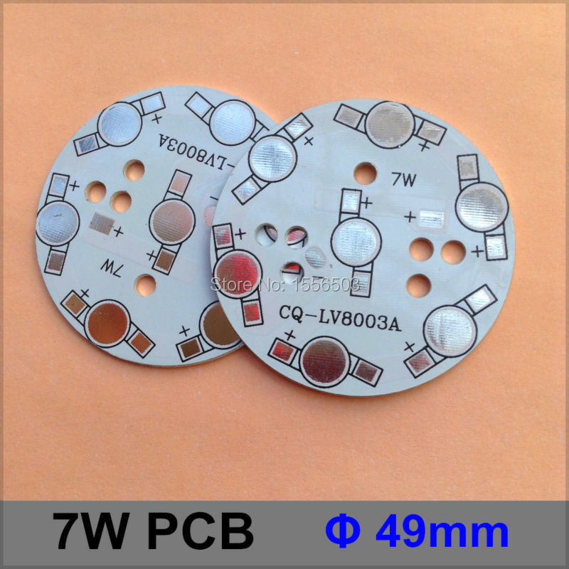 20 Pcs/lot LED Aluminum heat sink Plate 7W Round 49mm LED High Power PCB Plate Circuit Base For 7W LED Lamp CQ-LV8003A
