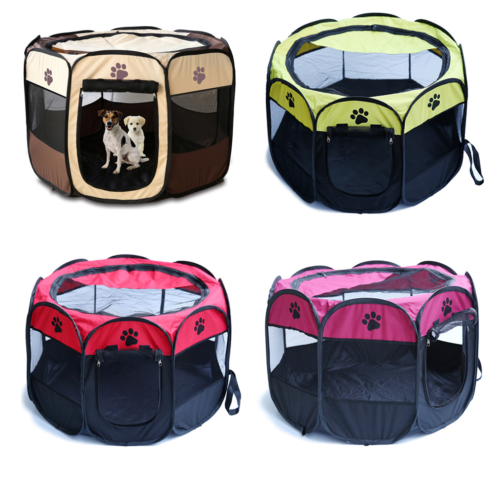Portable Folding Pet Tent Playpen Dog Cat Fence Puppy Kennel Easy Operation Folding Exercise Play In House Or Outdoor 4 Colors