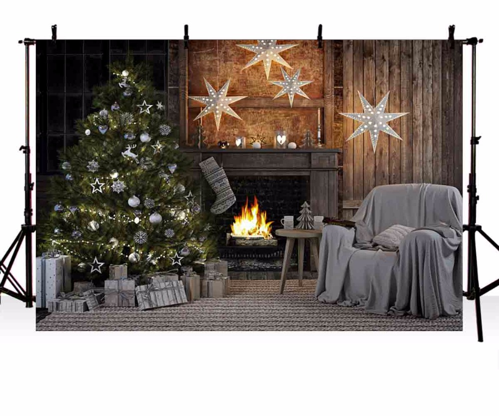 Indoor Fireplace Christmas Tree Photography Background: Vinyl Photography Background Christmas Tree Fireplace Star