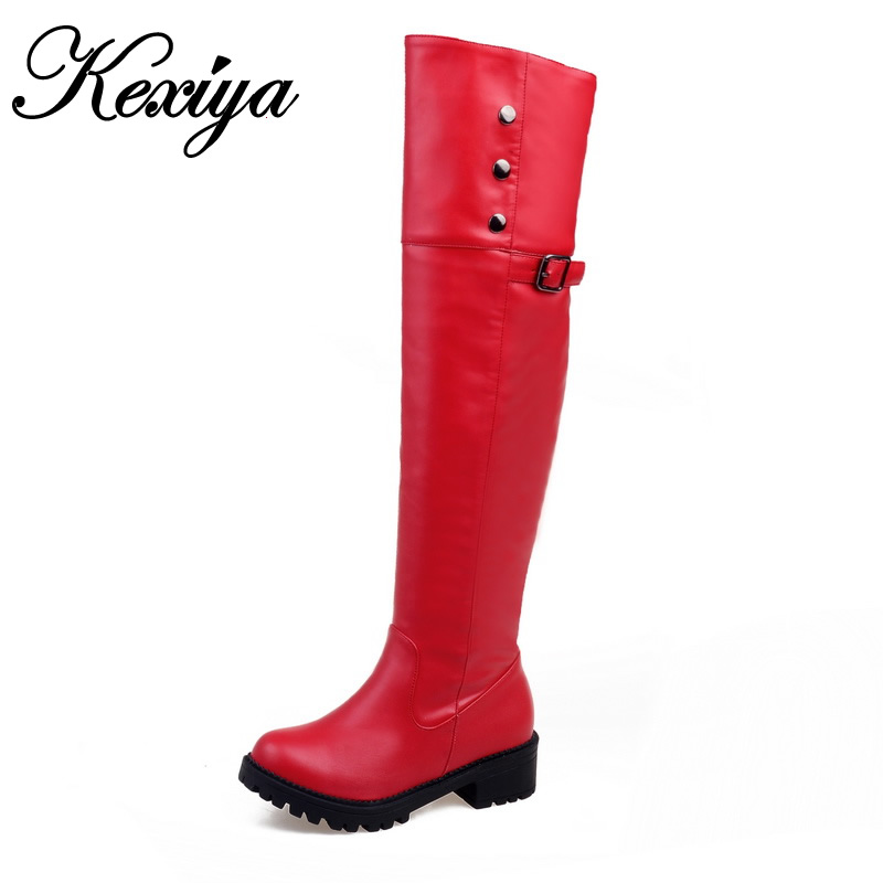 Big size 30-52 winter women botas fashion solid PU mid heel shoes popular Buckle decoration ladies zipper Over-the-Knee boots 2016 fashion women winter shoes big size 30 50 low heel botas slip on stretch thin leg over the knee boots 30 31 32 33 hqw a98