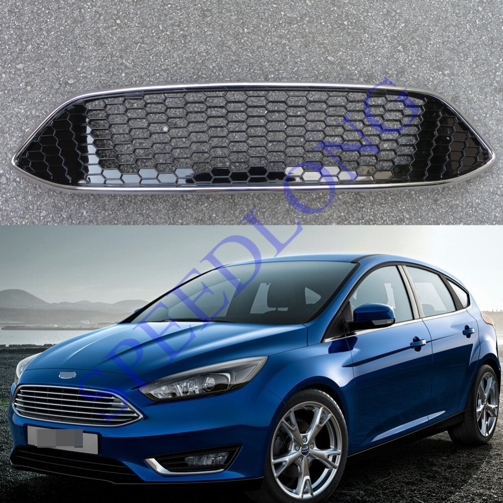 1pc front bumper upper chrome grill gloss black sport grille honeycomb for ford focus 2015