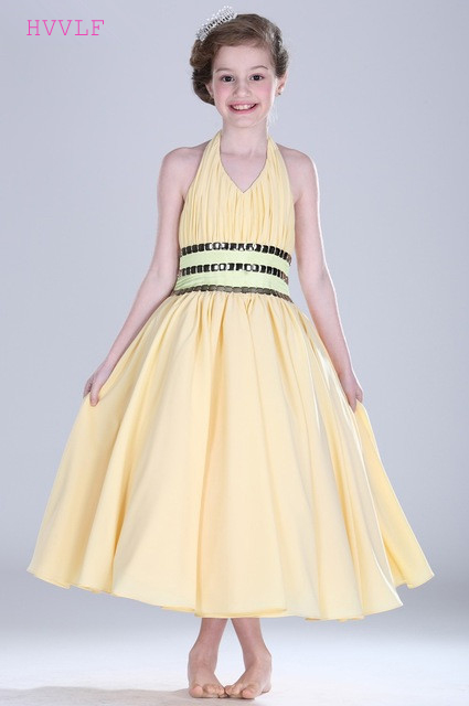 Yellow 2019   Flower     Girl     Dresses   For Weddings A-line Halter Chiffon Crystals Long First Communion   Dresses   For Little   Girls
