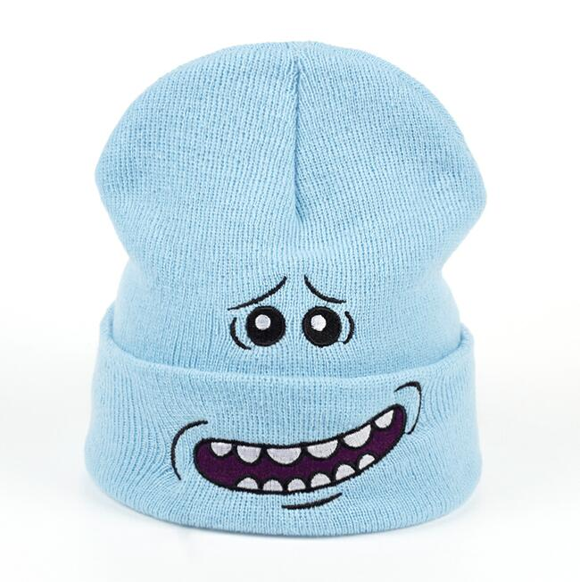 4ad387b17 Mr. Meeseeks Winter Knitted Hats Rick and Morty Anime Caps Warm Light Blue  Lovely Beanie Outdoor Sport Skiing knit Hats Skullies