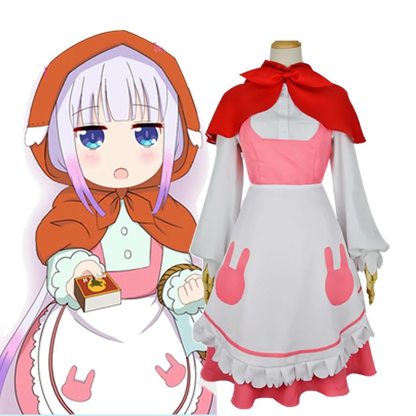 Kobayashi san Chi no Maid Dragon Miss Kobayashi's Dragon Maid Cosplay Kanna Kamui Little Red Riding Hood Costume Dress Uniforms