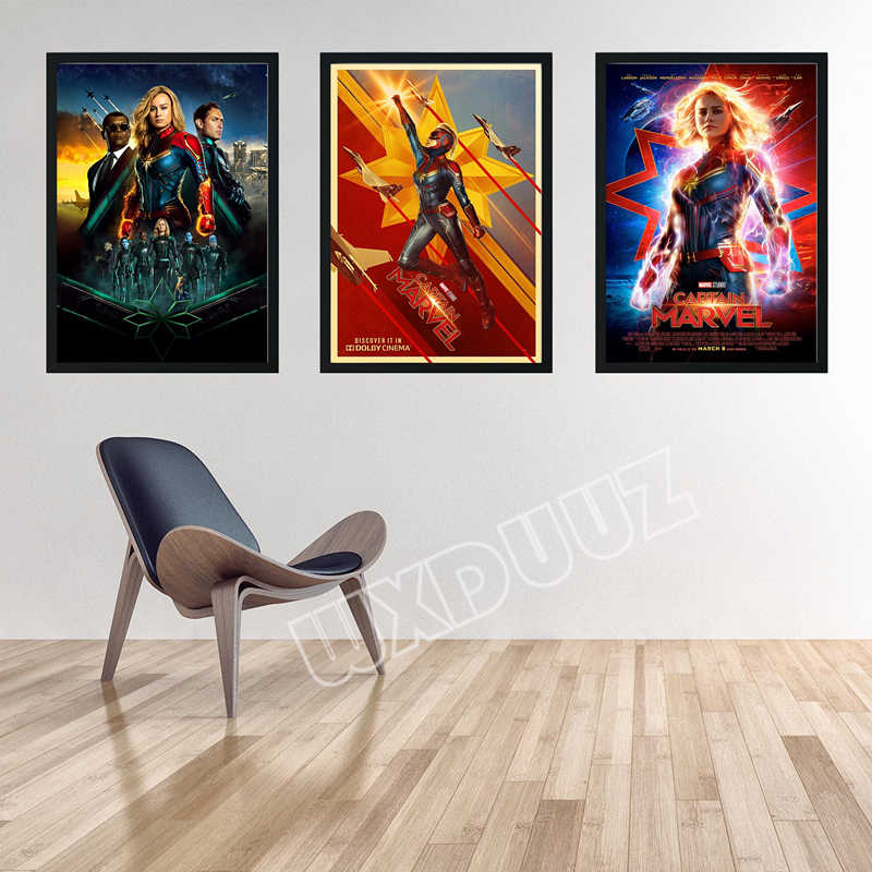 Captain Marvel Reying Movie Home Decor Art Decor living Nursery Kids Room wall art posters canvas painting K210