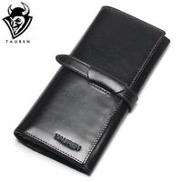 100 Genuine Leather Cowhide High Quality Vintage Solid Color Men Long Wallet Coin Purse Vintage Designer
