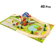 40 шт. деревянные креативные поезда красочные эстакады игрушка рельс дорожное движение сцена игрушка для ребенка
