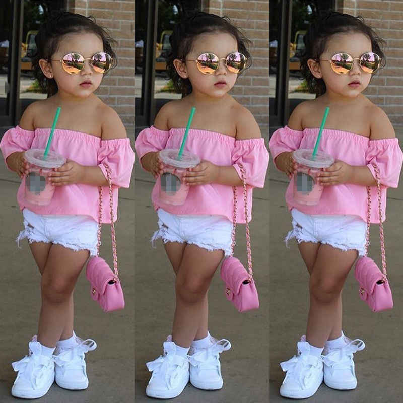 2018 Baby Meisjes Blouses Mode Peuter Baby Baby Kids Meisjes Off-shoulder shirt Tops Casual Zomer Kleding