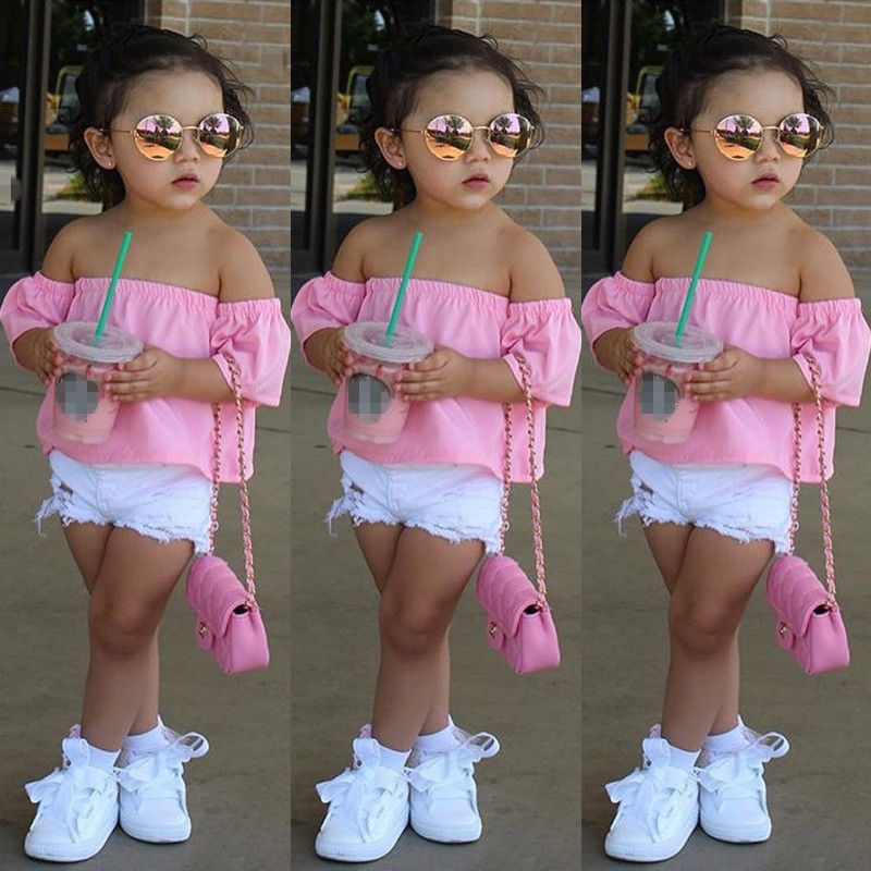 Hot Girls Blouses Toddler Infant Baby Kids Off-shoulder shirt Tops Casual Summer Clothes
