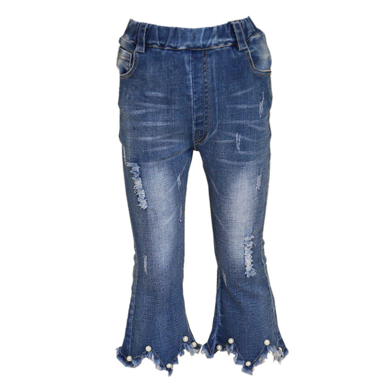 Fancy Girls Denim Trumpet Pants With Beaded Hole Jeans Girls Denim Ripped Jeans Pants Trousers High Quality Girl Summer Jeans 1