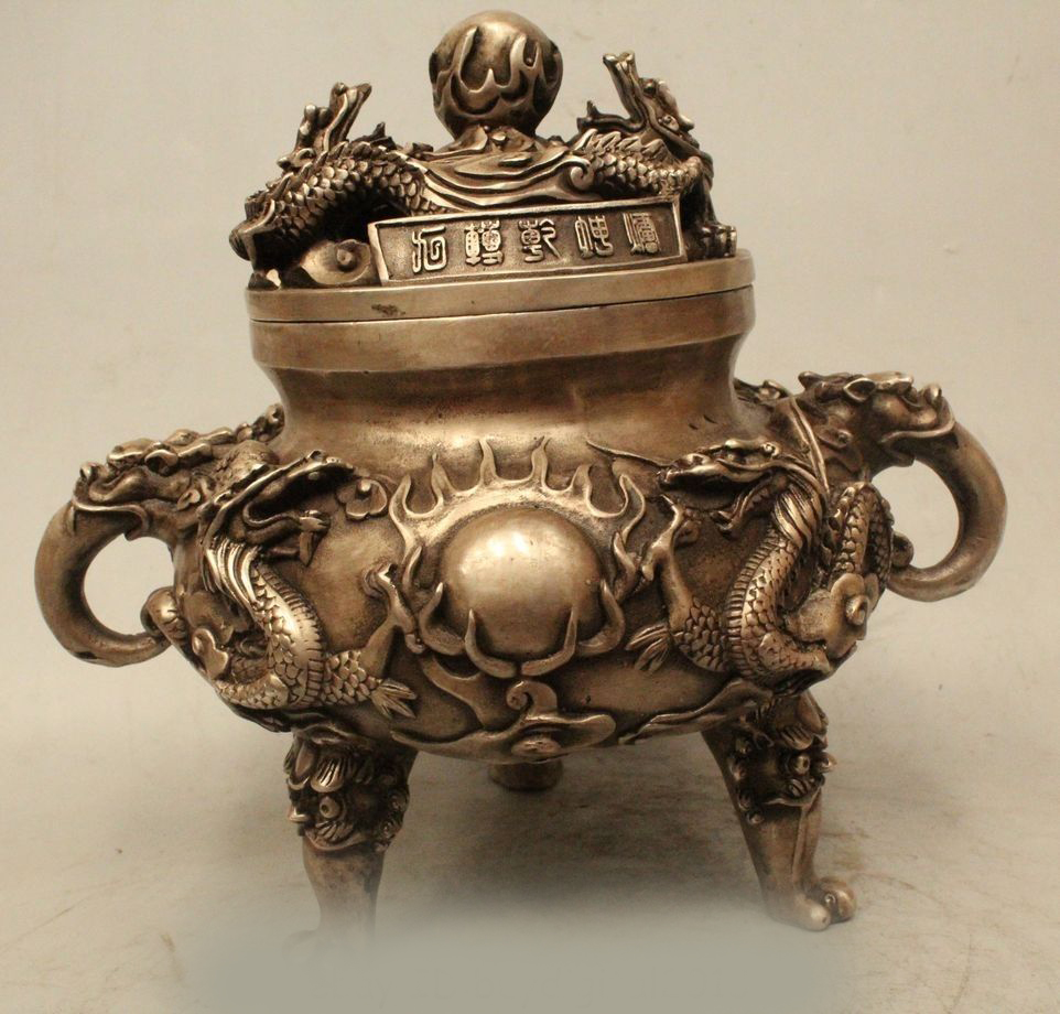 DS 9 Chinese Dynasty Palace Buddhism Silver Dragons Play Bead Incense Burner CenseDS 9 Chinese Dynasty Palace Buddhism Silver Dragons Play Bead Incense Burner Cense