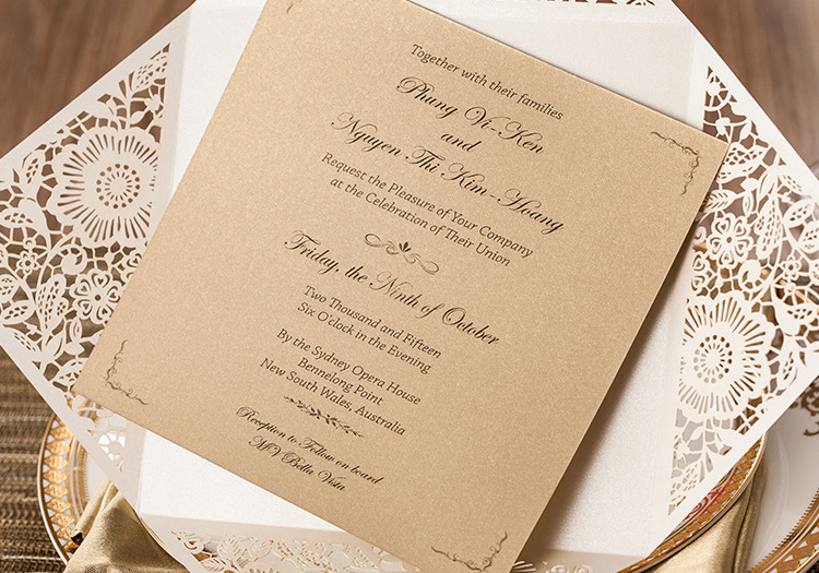 Hot Sales White Wedding Invitations Brown Insert Card Envelope Free Printing Laser Cut Flower For Party In Cards From Home