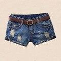 NiceMix 2017 Calções de Verão Mulheres Denim Shorts Sexy Cintura Baixa Jeans Rasgado Apliques Remendo Rebite Borla Curto Femme Plus Size