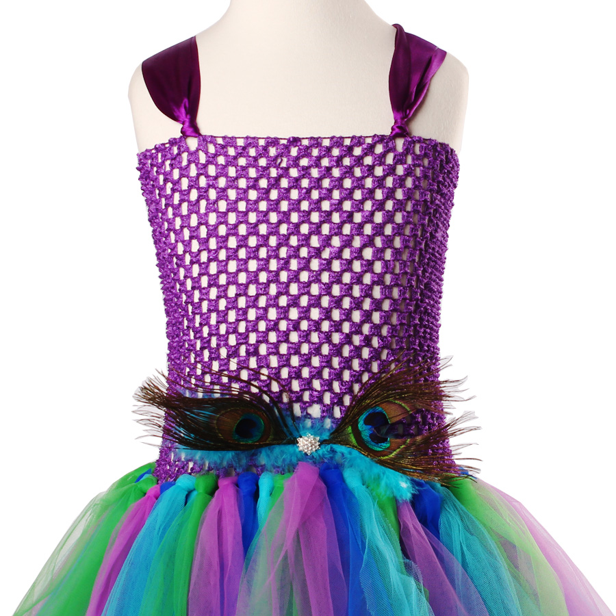 Peacock Flower Girl Tutu Dress Turquoise and Purple Tulle Wedding Dress Kids Purim Party Ball Gown Elegant Princess Prom Dress (7)