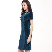 2019 Summer new fashion swan gold velvet round neck short sleeve dress solid color thin section slim long