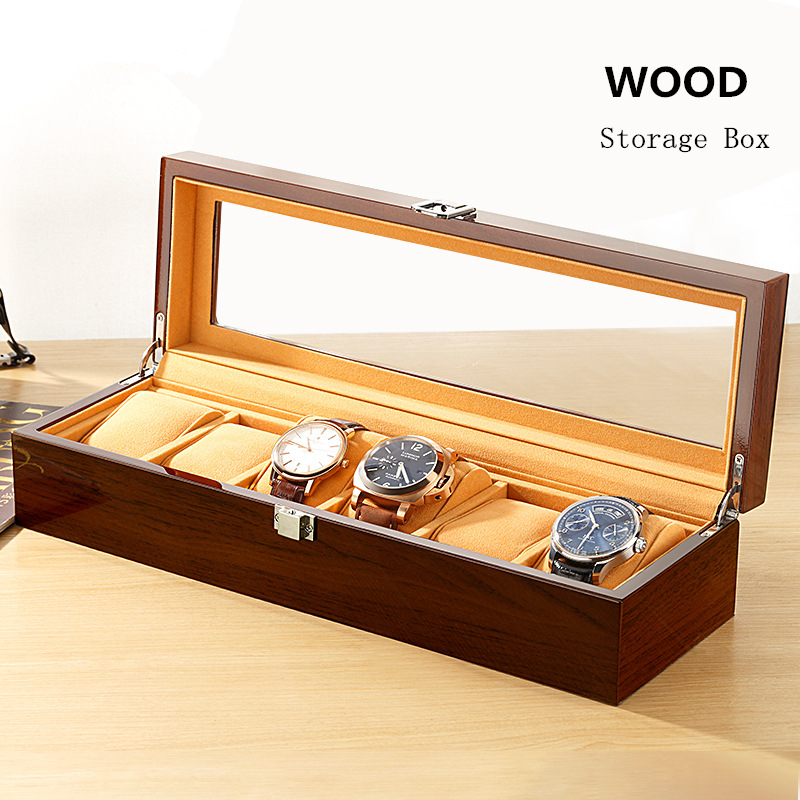 DA 6 Slots Import Watch Box With Window Mens Wooden Watch Gift Cases Black Women Watch Storage Jewelry Boxes Wooden Display B048 red wooden paint watch box pefect to storage watch case gift for watch lacquer boxes may custom logo factory supply