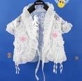 2016 новые свитера кардигана дети белый с коротким рукавом кружева хлопка девушка пальто для 1-10 Т короткий пожал плечами для девушки детская одежда 1514