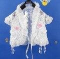 2016 mais novo crianças suéter branco-manga curta rendas de algodão casaco menina para 1-10 T curto ombros para meninas roupa dos miúdos 1514
