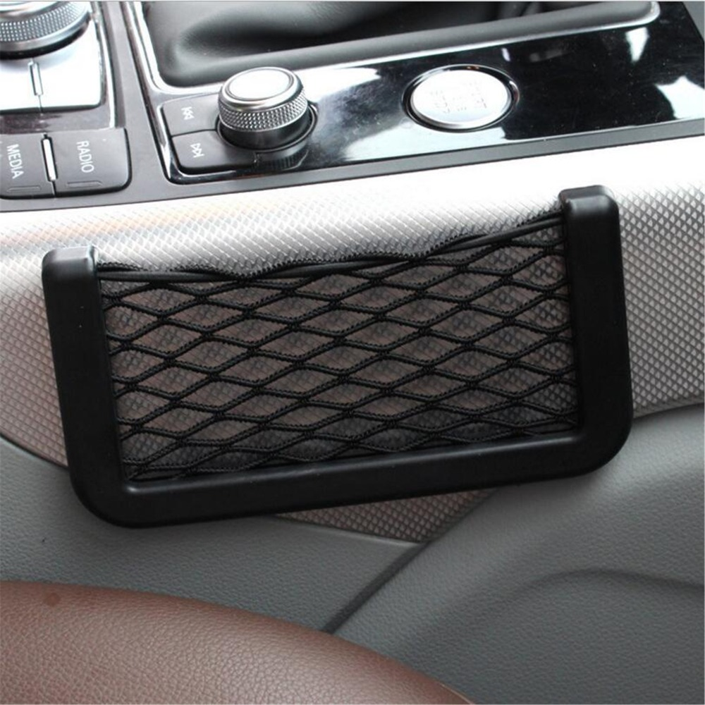 Universal Big 15*8CM black car seat side Net storage bag pocket For ford vw  peugeot opel renault mazda golf 4-in Automotive Interior Stickers from