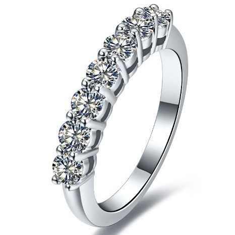 0.1*7 quilates de ouro esterlina 585 sete pedras agradável real moissanite feminino anel de casamento estilo marca superior qualidade permanente