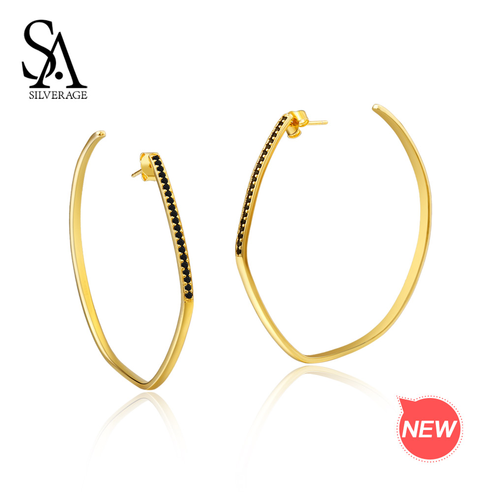 SA SILVERAGE 925 Sterling Silver Big 14K Gold Plated Hoop Earrings for Women Hanging Earrings Silver Gemstone Hoop Earrings pair of gold plated polished big hoop earrings