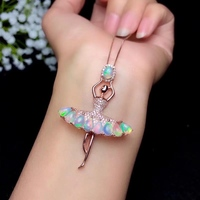 ballet dancer opal gemstone pendant for silver necklace birthday anniversary party gift fireworks color vivid image