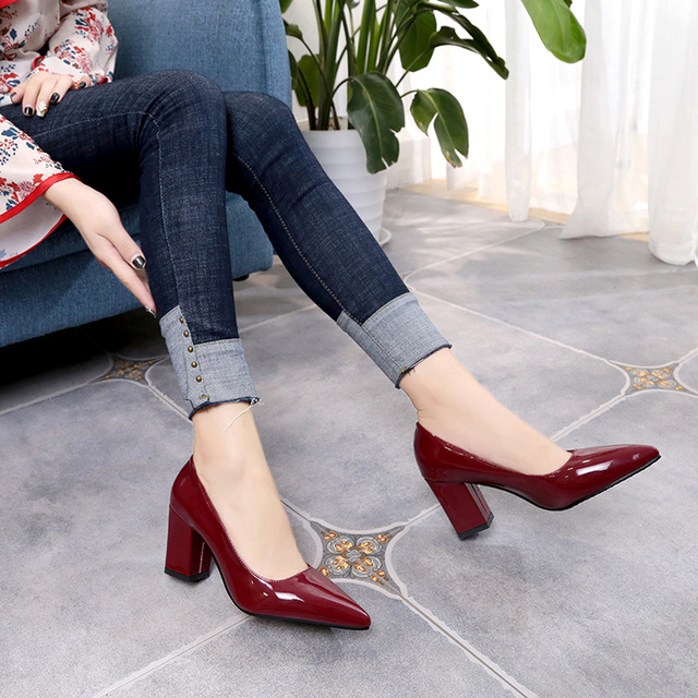 2019 Women's High Heels Sexy Bride Party mid Heel Pointed toe Shallow mouth High Heel Shoes Women shoes big size 35-43 4