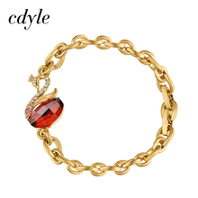 Cdyle Pure Gold Color Bracelets Women Bracelet Swan Shaped Austrian Rhinestone Crystals From Swarovski Jewelry Elegant Fashion(China)