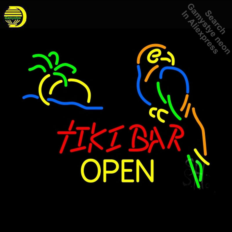 NEON SIGN For Tiki Bar Open Glass neon Light Sign Club