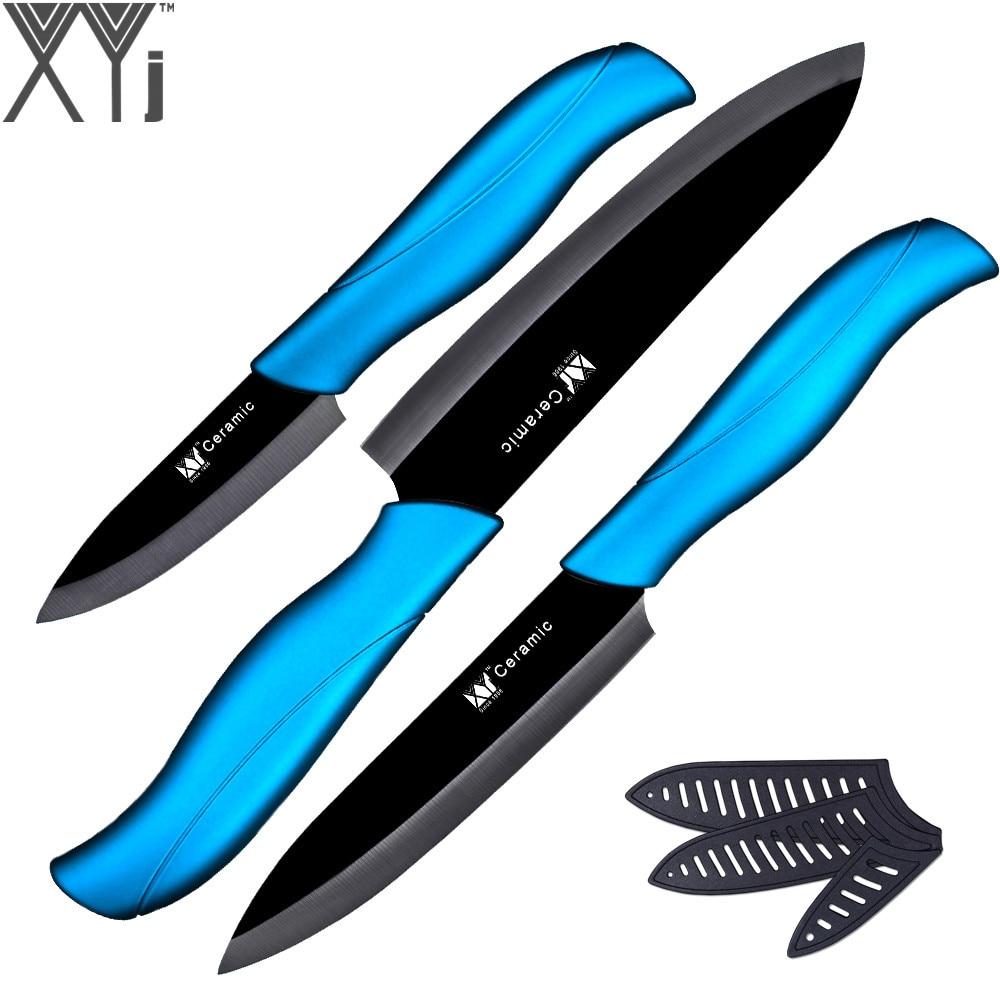 Ny keramisk kniv 3 tommer paring 4 tommer værktøj 5 tommer skærekniv med sort blad + blåt håndtag køkkenknive tredelt sæt