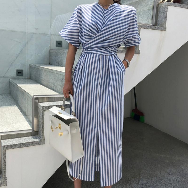 Корейский Для женщин летний хлопковый костюм синего цвета полосатая повязка Разделение длинное платье Женский Длинный Облегающий, большой размер; Vestido Robe Ete Sukienki