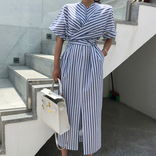 Korean Women Summer Cotton Blue Striped Bandage Split Long Dress Female Long Bodycon Plus Size Vestido Robe Femme Ete Sukienki