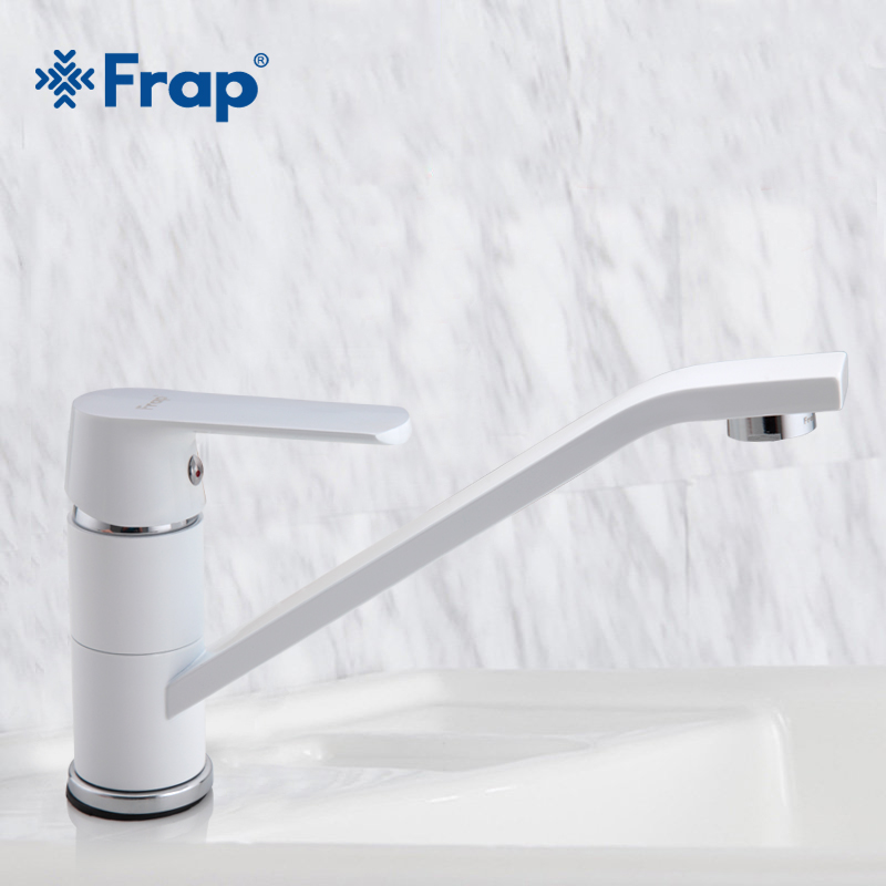 FRAP Long Short Single Handle White Painting Mixer Hot And Cold Mixer Tap Solid Brass Basin Faucet Chrome Bathroom Faucet