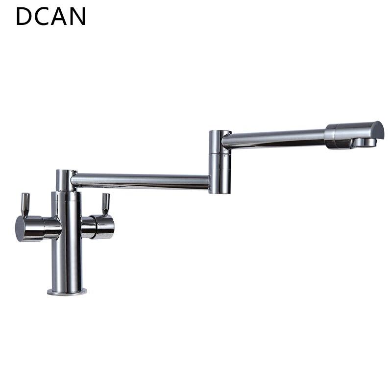 DCAN robinets de cuisine robinets d'évier de cuisine double poignée mélangeur robinet Chrome finition Pot de remplissage robinet 100% laiton robinet pliant - 5