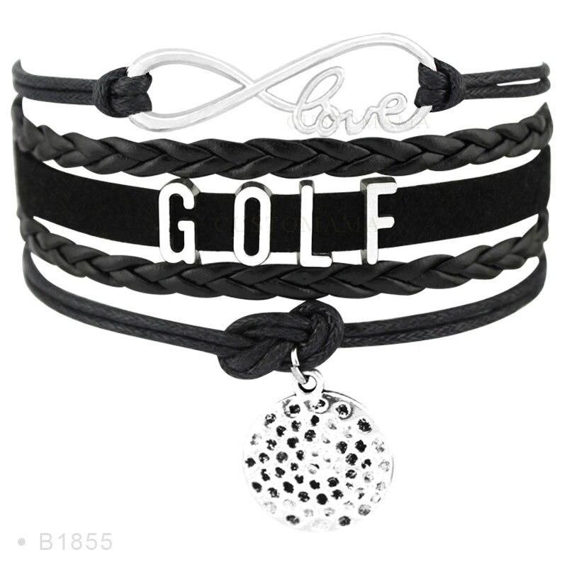 (10 pcs/lot) Infinity Love Golf Metal Charm Bracelets For Women Men Gifts Bracelet Turquoises Wax Suede Leather Custom Jewelry