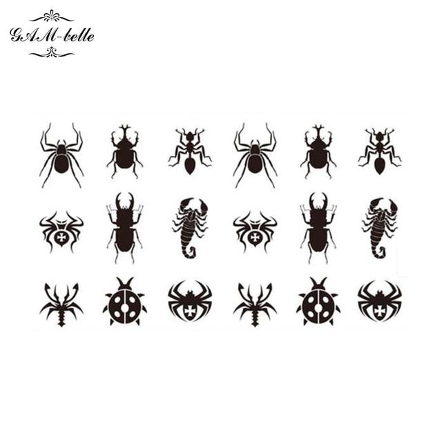 Escorpion Tatuaje pequeño mapa pegatinas tatuajes negro hormiga individuales pequeños