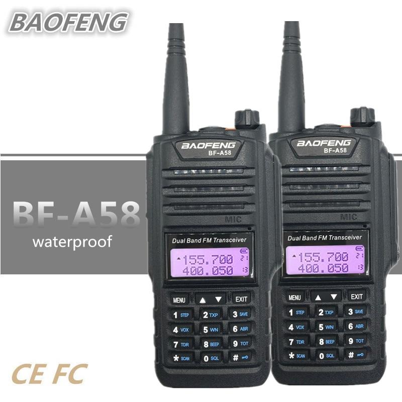 2PCS BAOFENG BF A58 Walkie Talkie Waterproof UHF VHF cb Radio Amateur 10 KM Long Range