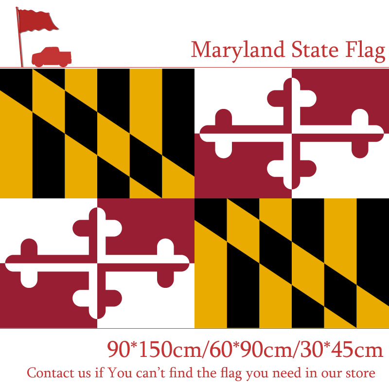 <font><b>90*150</b></font> cm/60*90cm/40*60cm Flying Flag Maryland State Flag 3x5ft Banners With Brass Metal Holes For Decoration Office image