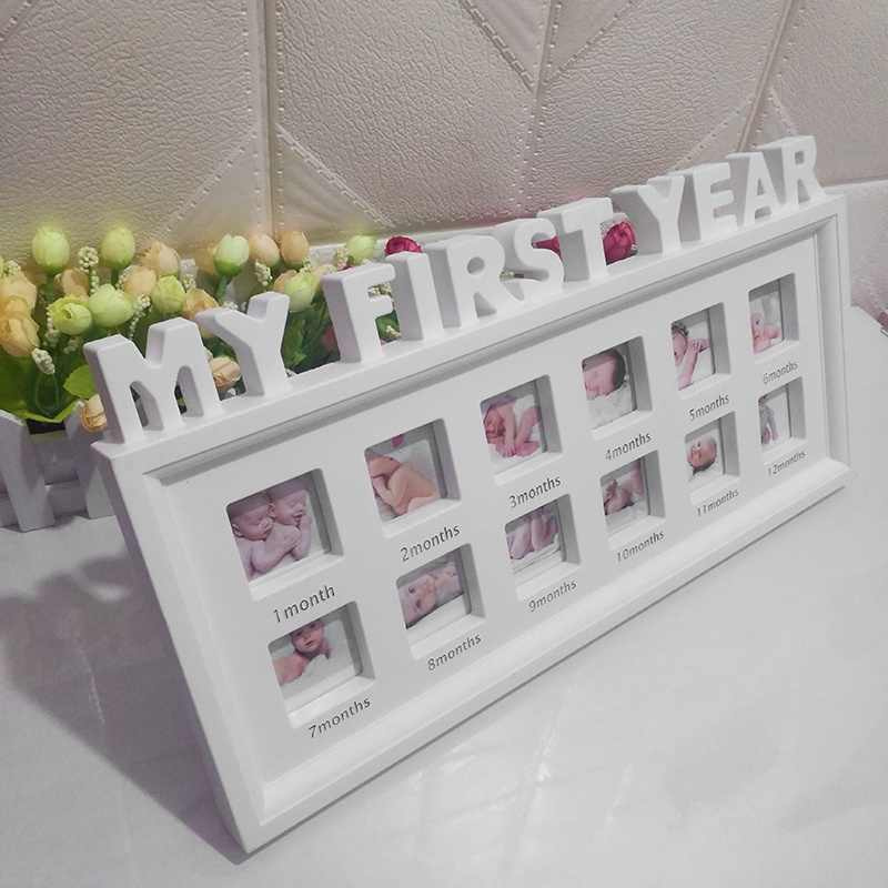 1-12 Month Baby Photo Frame Baby Memorial Grown Photo Frame for Birthday Gifts Picture Frame Wall Decorations Home Room Decor