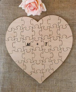 custom initials alternative hearts rustic puzzle wedding day guest books Wooden guestbooks Reception party favors decorations